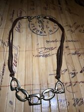Lia Sophia Leather Metal Rings Necklace Ladies Womens Costume Jewelry Marked