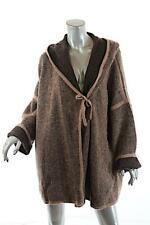 EMANUEL Emanuel Ungaro Camel Brown Wool Blend Hooded Cardigan Sweater Coat  Sz L