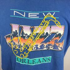 Vintage 80s 90s New Orleans Grunge JAZZ Music Distressed T Shirt Saxophone Tee