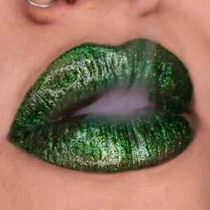 Lime Crime Wet Cherry Monster Ultra Shiny Lip Gloss Serpintina Green Sparkle NIB