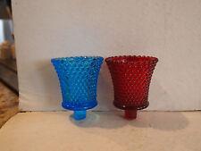 2 Glass Sconces - Candy Votives - Pegged Bottom - Hobnail - 1 Blue, 1 Ruby Red