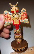 Alaska Souvenir Thunderbird - Beaver & Bear Totem Pole 7 inches tall, very nice!