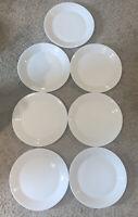 ROYAL DOULTON PORCELAIN 1815 SET OF 7 WHITE DINNER PLATES MADE IN ENGLAND
