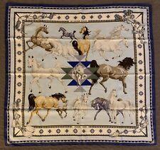 Authentic Foulard LES CHEVAUX QATARIS HERMES Paris 100% seta Mint Condition