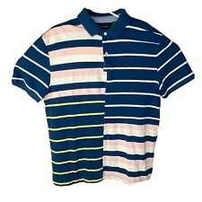 Tommy Hilfiger Mens Short Sleeve Polo Color Block Blue Pink White Striped XL