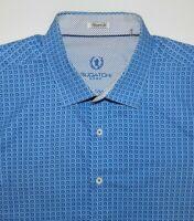 Bugatchi Uomo Dress Shirt Men's XL Blue Long Sleeve Shaped Fit 100% Cotton