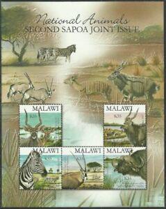 Malawi 2007 2nd SAPOA Joint Issue, MS MNH, National Animals, botswana, namibia