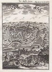 1685 Egypt Cairo City View 17th Century Engraving Print Mallet