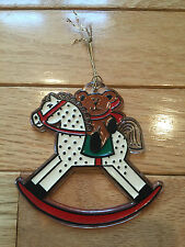 Vintage Hallmark Christmas Tree Trimmers Ornament 1981 Teddy Bear Rocking Horse!