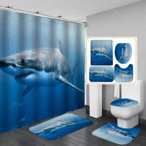 Blue Sea Big Shark Shower Curtain Bath Mat Toilet Cover Rug Bathroom Decor