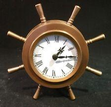 New listing Solid Brass Ships Wheel Helm Shipwheel Clock Nautical Beach/Boat/Ship Decor