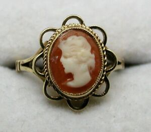 1950's Vintage 9 carat Gold Carved Cameo Ring Size I.1/2