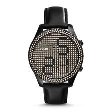 NWT Fossil Women's Watch Electro Tick DIGITAL Black Leather & Glitz ES3676 $295