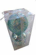 Large Shiny Aqua Blue / Matt Baubles (10cm) - 2 Packs (4 x 10cm)