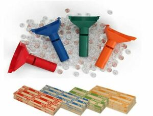 Coin Sorter Kit Bank Money Change Tubes Roll Wrap Pennies Quarters Nickels Dimes