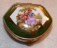 Vintage Limoges Trinket Pill Box France D'Art Fragonard Courting Couple scene