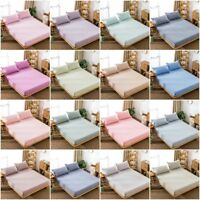 Solid Fitted Sheet Soft Pillow Case Bedding Cover Luxury Comfortable Cotton New