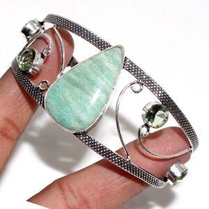 Amazonite Peridot 925 Silver Plated Bangle Adjustable Jewelry GW