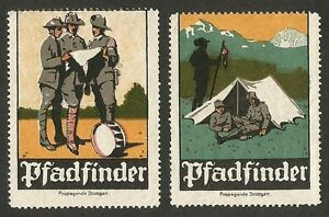 Germany 1920s SCOUT labels / poster stamps x 2