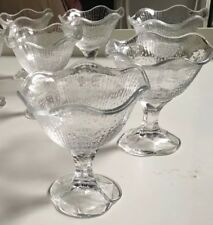 Retro Set Fluted Glass Dessert Dish Parfait Soda Fountain Ice Cream Petal France
