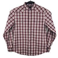 Banana Republic Mens Slim Fit Western Pearl Snap Plaid Button Up Shirt Size M