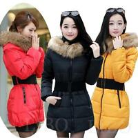 Winter Women Warm Fur Collar hooded Down Jacket Quilted Coat parka UK Size 6-16