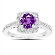 Amethyst Engagement Ring With Diamonds 14K White Gold 1.38 Carat Certified