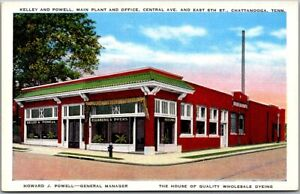 1940s Chattanooga TN Postcard KELLEY & POWELL CLEANERS & DYERS Street View Linen