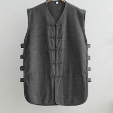Cotton men vest Tang suits tai chi kung fu sweatshirts gray Waistcoat gift 100kg