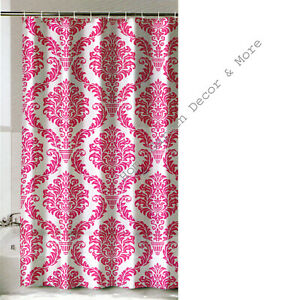 """Pink Damask Flower Floral Thin Vinyl Shower Curtain 72""""x72 With Grommets"""