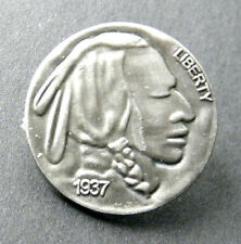 NATIVE AMERICAN INDIAN NICKEL LIBERTY 1937 LAPEL PIN BADGE 1 inch NOT A COIN