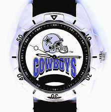 Dallas Cowboys NFL Fossil New Unworn, Vintage Mans Black Leather Band Watch! $98