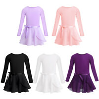 UK Toddlers Kid Long Sleeves Dance Leotard Tied Skirt Set Gym Ballet Latin Dress