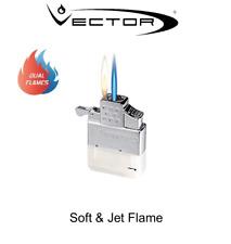 Vector Thunderbird Dual Flame Lighter - Soft & Jet Flame Butane Gas Insert Zippo