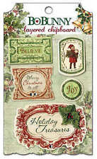 NEW BO BUNNY FATHER CHRISTMAS LAYERED CHIPBOARD EMBELLISHMENTS