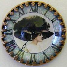 1 Czech Crystal Glass/Brass Dome Button #A259 - RARE ANTIQUE Components