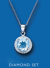 "Blue Topaz and Diamond Pendant 18"" Chain Hallmarked British Made"