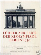 Olympics Berlin 1936 Programme / Guide Cover Summer Olympic Games - reprint