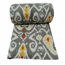 Indian Ekat Handicraft Bedspreads picnic Comfort Queen Size Gray Kantha Quilt
