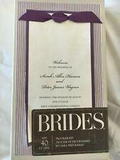 Brides Wedding Program Kit Purple Ivory with Ribbon Customizable 40 Count
