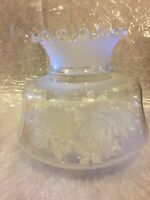 ❤️Vintage Clear Frosted Floral Roses Ruffle Glass Hurricane Lamp Shade Globe