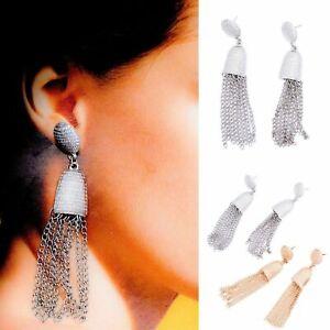Gold Silver Chains Style Statement Drop Tassels Earrings Studs Boho Jewellery