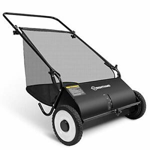 RightHand 26-Inch Push Lawn Sweeper Steel, Rubber Wheels Sweeps Leaf Grass&More