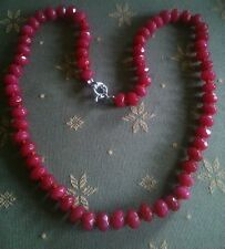 UK SELLER NATURAL RUBY NECKLACE.Real Opaque Ruby beads.Handknotted,top quality