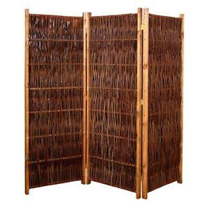 Weiden-Paravent Raumteiler 180x140 cm (LxH) 3-teilig aus Holz + Weide geflochten