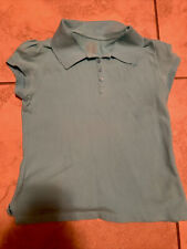 Childrens George Turquoise Polo Girls Large 10-12 Short Sleeve Collared Uniform