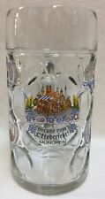 Beer Stein Mug Oktoberfest Munchen 1 Liter Dimpled Clear Glass