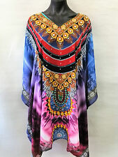 Loose Fitting Sheer Embellished Kaftan Digital Print Size 14-16-18-20-22