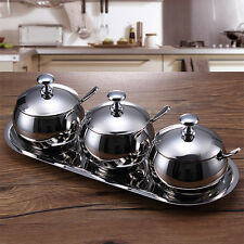 3pc Stainless Steel Spherical Kitchen Condiment Bottles And Cans Set 7829HC