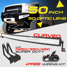 "FOR Ford F250/F350/F450 CREE 50"" LED Curved Light Bar 960W Combo +Mount Brackets"